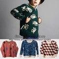 Nueva Bobo Choses Suéter Gafas de Puente 2016 de Otoño Invierno de Punto Camiseta de Los Niños Tops Camiseta de Manga Larga Camiseta de Las Muchachas de Bebé