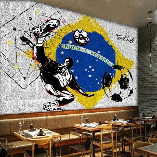 Photo Papier Peint Style Industriel Ciment Mur Mural Football Papier