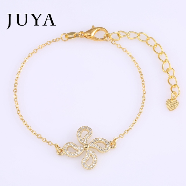 Romantic Nice Gold Chain Bracelets Cute Silver Handcuff Bracelets For Women  Micro Pave CZ Crystal Flower 8166d279dd64