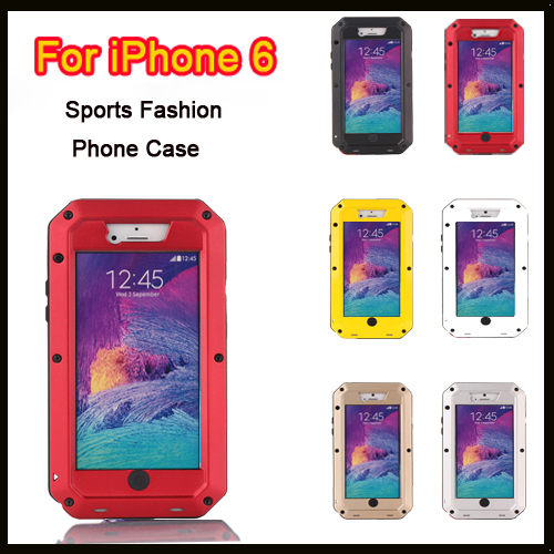 imágenes para Para apple iphone 6 6 s caso impermeable a prueba de polvo a prueba de gota de metal caso de la cubierta de metal extreme gorilla glass para iphone 6 + embalaje