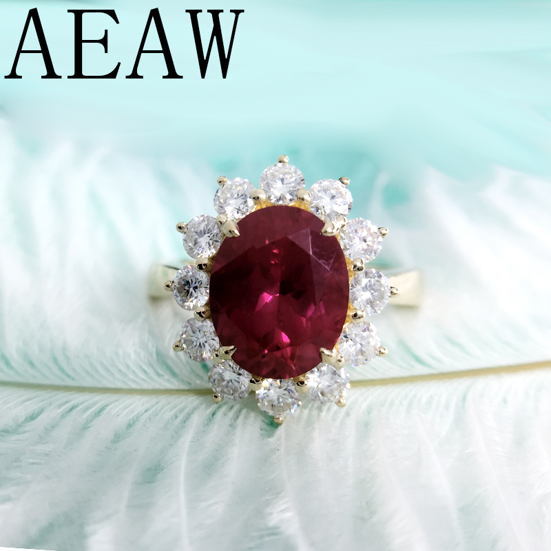 AEAW Genuine Woman Engagement Rings 8x10mm Lab Ruby with Moissanite Jewelry Solid 14K Yellow Gold Ring