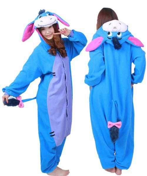 8493726a44c2 Cartoon Animal Cosplay Eeyore Donkey Onesies Pajamas Jumpsuit Hoodies Adults  Cos Costume for Halloween and Carnival