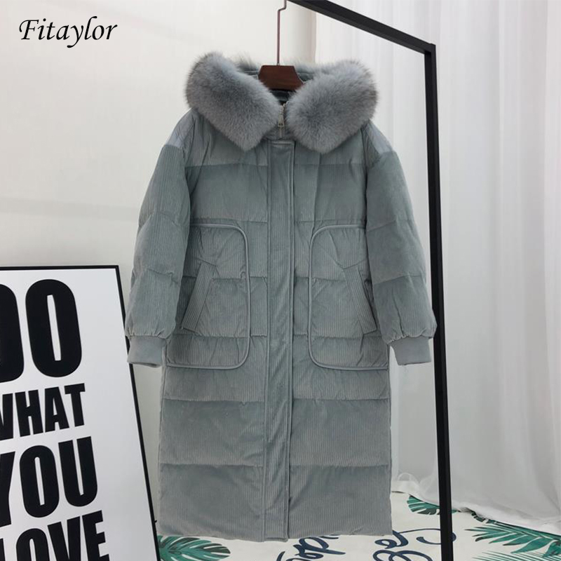Fitaylor Women Corduroy Duck   Down     Coat   Natural Large Raccoon Fur Hooded Jacket Thick Warm Snow Outerwear Winter OverCoat