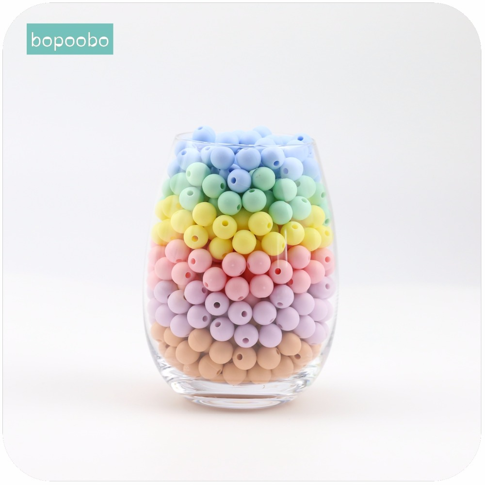 Bopoobo Baby Care Accessories Candy Colors 20mm 10pc Chewing Silicone Beads Sensory Toy DIY Nursing Jewelry Baby Teether