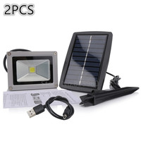 2PCS Solar Power LED Flood Light 10W Refletor Spotlight Outdoor Waterproof Garden Floodlights LED Lamp Wholesale