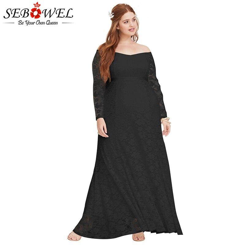 80003f3d7d1 ... Encaje blanco Sebowel Vestido Boda Tamaño Maxi Sexy Mujer Para De Noche  Elegante Fiesta Negro Larga ...