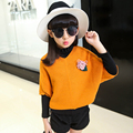 Девушки Aautumn Свитер 2016 Осень Корейской Версии детская Одежда Детская Одежда Детская Битой Футболка Блузки