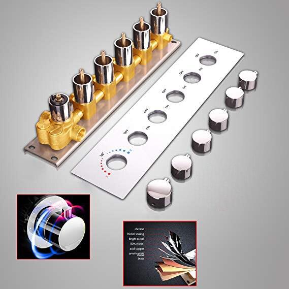 Modern Termostática Alto Fluxo Válvula de Desvio de Chuveiro Material de Bronze Acessórios Do Banheiro Do Cromo Ou Preto Fosco Superfície