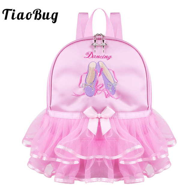 26d484daaa TiaoBug Crianças Meninas Rosa Ballet Dança Saco Escola Estudante Mochila  Daypack Toe Sapatos Bordados Ruffles Tutu para a Criança da Classe de