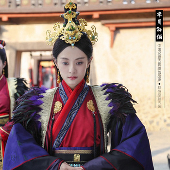 Mishu Miyue 2015 Newest TV Play Legend of Mi Yue - Ancient Qin Empress Xuan Gorgeous Stage Costume for 2016 Spring Festival Gala 2016 spring