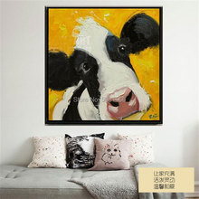 Hand-painted COW Painting Pictures Abstract yellow cow Oil Paintings on Canvas Large CATTLE Wall Art Home Decor