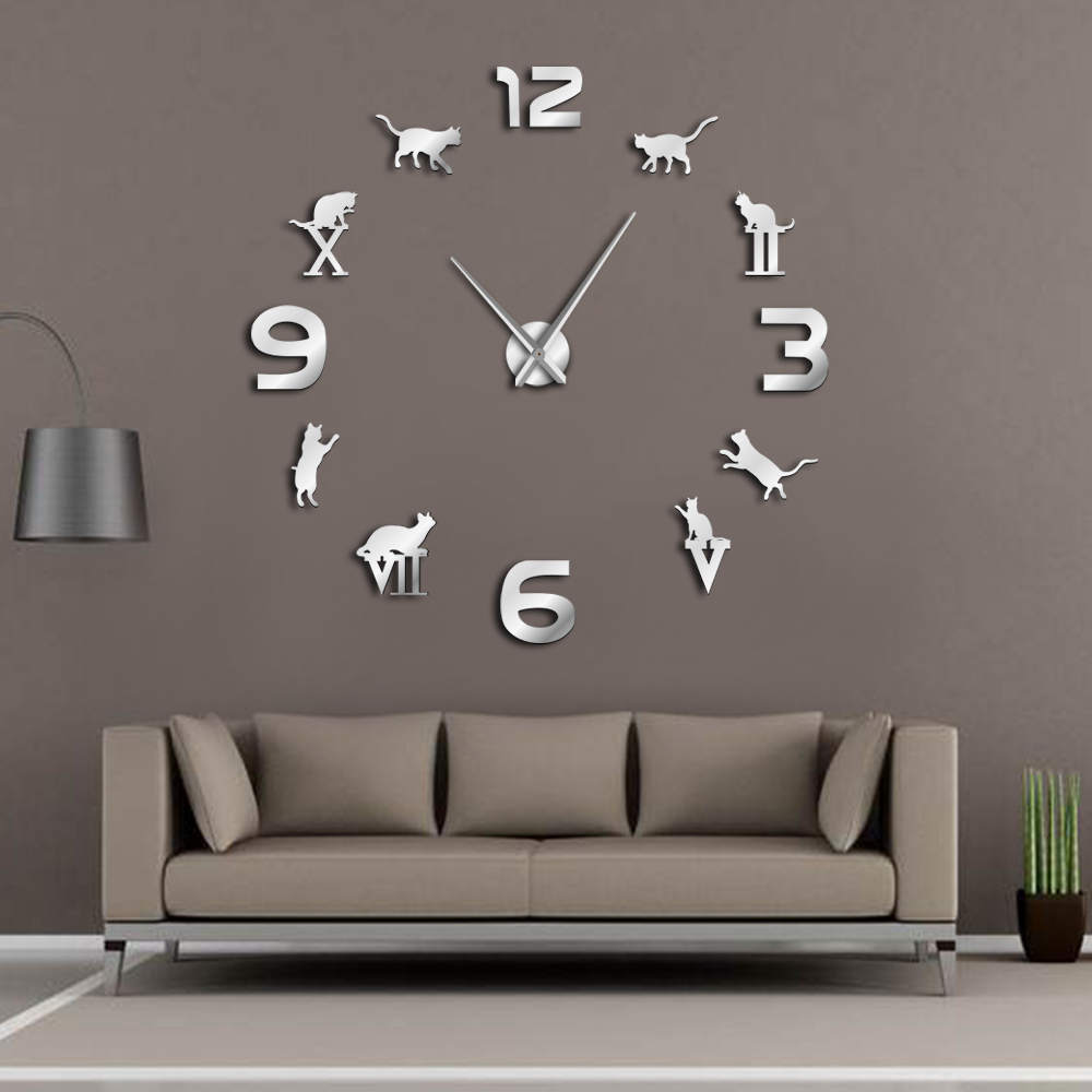 Roman Arabic Numerals Mixed DIY Large Wall Clock Kitty Cat Silhouette Wall Art Giant Wall Watch Modern Design Home Decor Clock