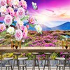 Free Shopping Outdoor Mountain Sunset Landscape Peony Figure Background Wall Murals Living Room Restaurant Cafe Wallpaper
