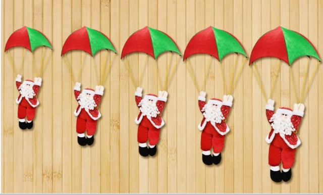 Christmas Home Ceiling Decorations 30cm 70cm Parachute Santa Claus New Year Hanging Pendant Decoration
