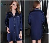 Women's Long Sleepshirt 100% Pure Silk Nightshirt Three quarter Sleeves Home Dress Size M L XL