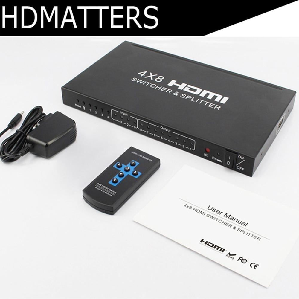 4 K HDMI séparateur de commutateur 4x8 HDMI 1.4 Audio Vidéo Convertisseur Adaptateur V1.4 soutien 3D/1080 P avec télécommande