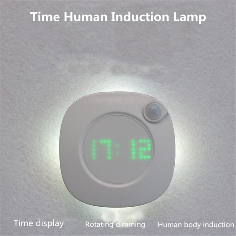 CLAITE LED PIR Motion Sensor Night Light With Time Clock For Home Bedroom Stairs Wall Lamp Brightness Dry Battery Power 2 Color