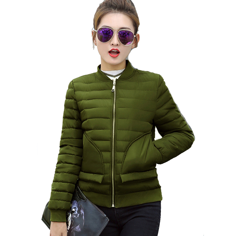 2017 solid color black dark green winter women jacket autumn short bomber jacket two pocket womens coat casaco feminino