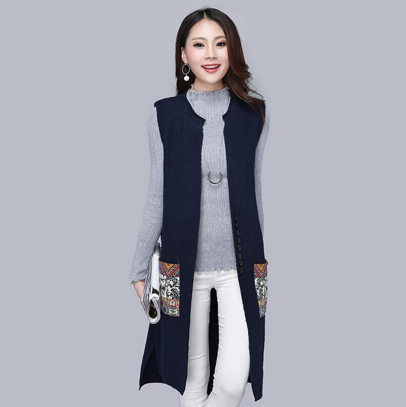 64e7f5607cd01 2018 new autumn winter Long Sweater Vest Women Knitted Cardigan ...