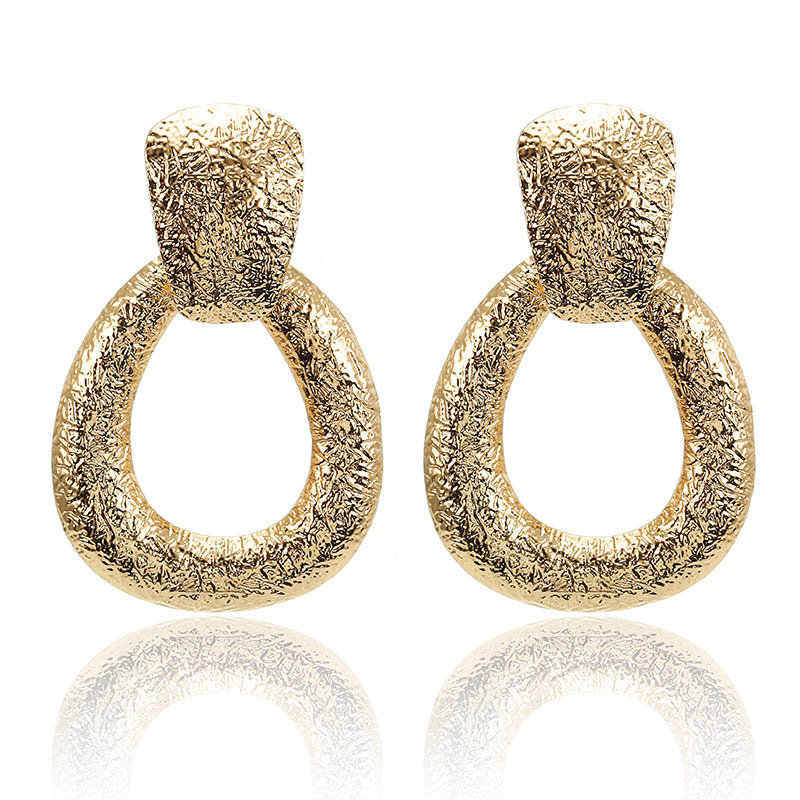Geometric Water Droplet Creative Retro Frosted metal Metal earring for women gold/silver Exaggerated drop earring Party Jewelry