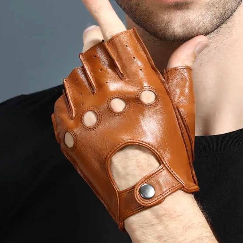 Mens Gloves Leather Fingerless Genuine Goatskin Slip-resistant Half Finger Gym Fitness Driving Male Gloves Black Exercise Mitten