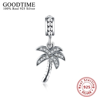 Pure Solid 925 Silver Jewelry Pave Rhinestone Coconut Tree Dangle Charms For DIY Bracelets Silver 925 Jewelry Making GTP098