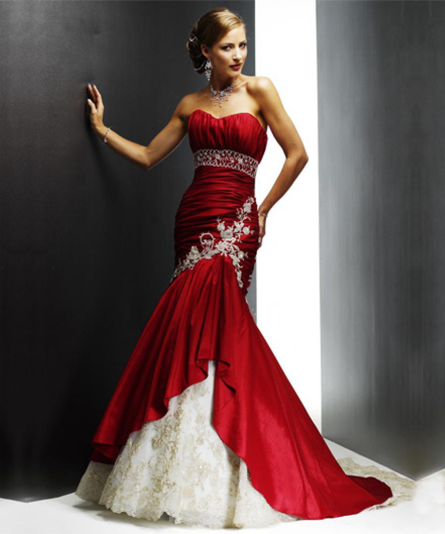 Awesome Red And White Wedding Dress Nice Look
