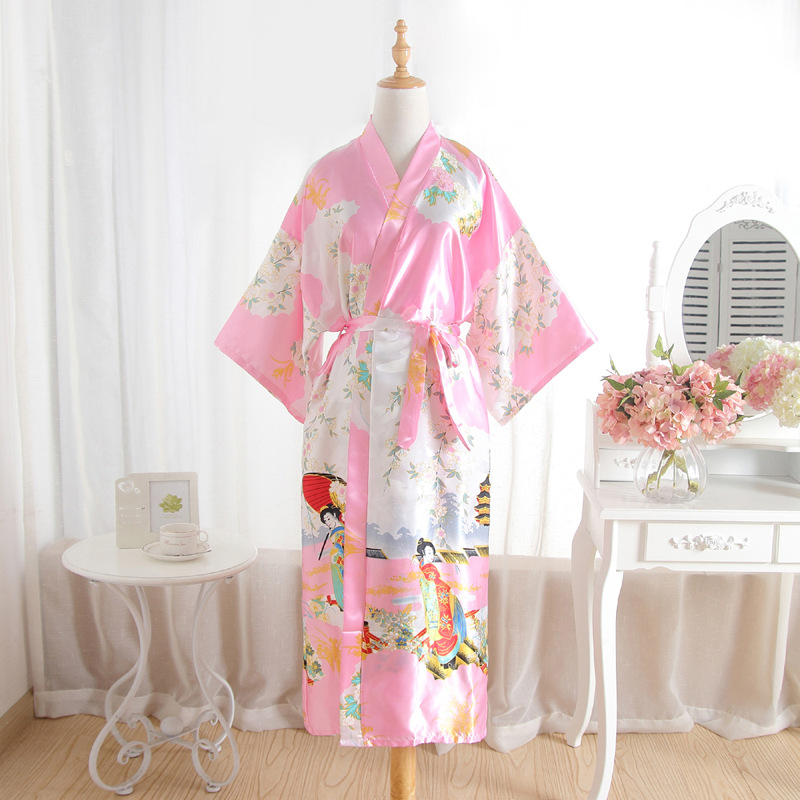 Plus Size Womens Summer Kimono Robe Pink Lady Rayon Bath Gown Yukata Nightgown Sleepwear Sleepshirts Pijama Mujer Msj009