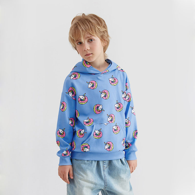 Ouyang&Ivan2019 Student Hoodie Street Style Autumn New 4-15 Year Old Boy Unicorn Hooded Cotton Sweatshirt(China)
