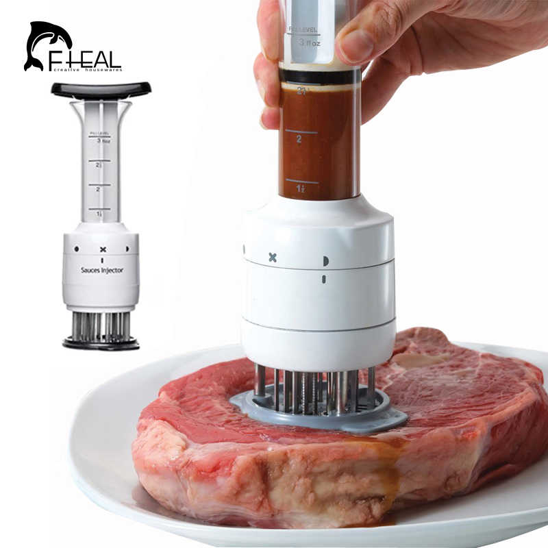 FHEAL Stainless Steel Meat Tenderizer Needle and Meat Injector Marinade Flavor Syringe Kitchen Tools