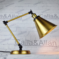 Brass finished iron shade night light with switch and plug book study lighting E27 AC110/220V desk lamp industrial sconce lamp
