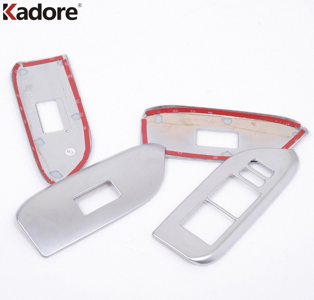 Tomefon 4pcs For Toyota Corolla 2017 Facelift Abs Chrome: ABS Matte Interior Door Window Lift Switch Panel Cover Armrest
