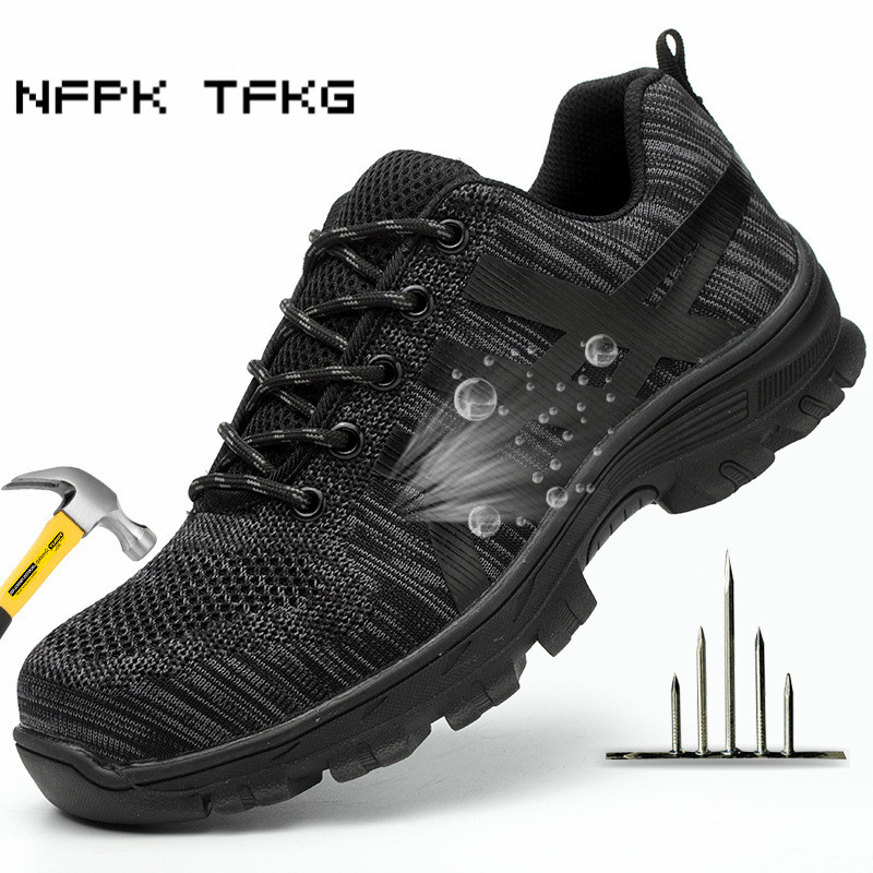 men s fashion big size steel tip work safety shoes warehouse worker builder dress anti pierce