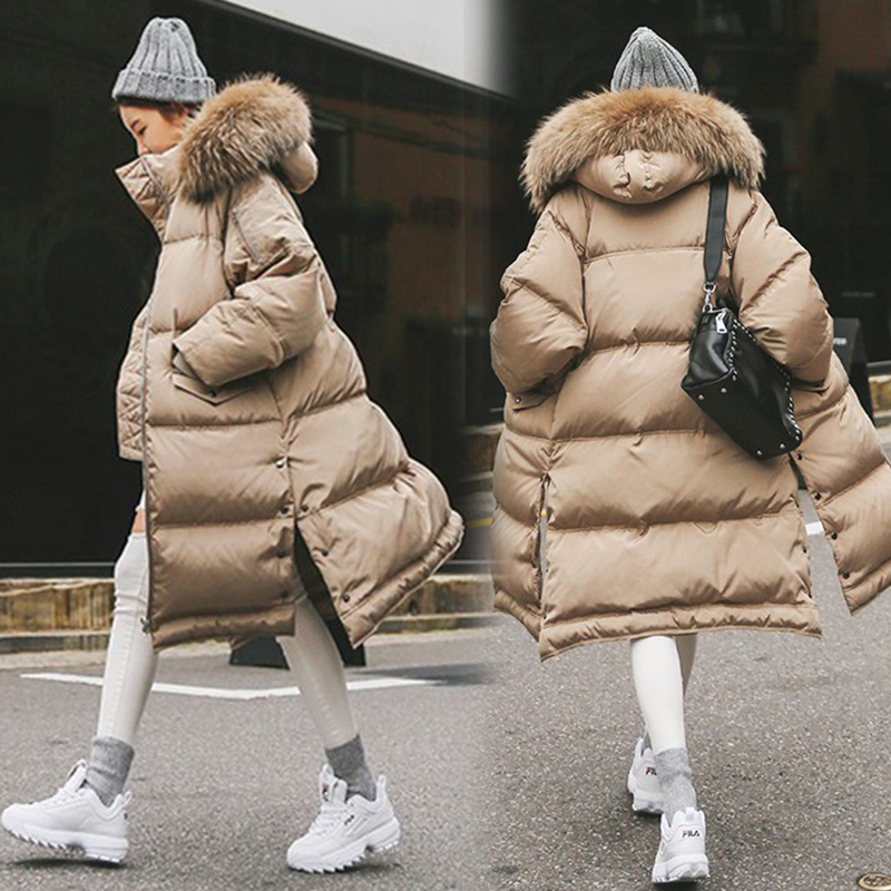 Winter Famale Thick Warm 90% Duck Down Jacket Plus Size Women Natural Large Fur Collar Hooded Parka Loose Khaki Zipper Long Coat