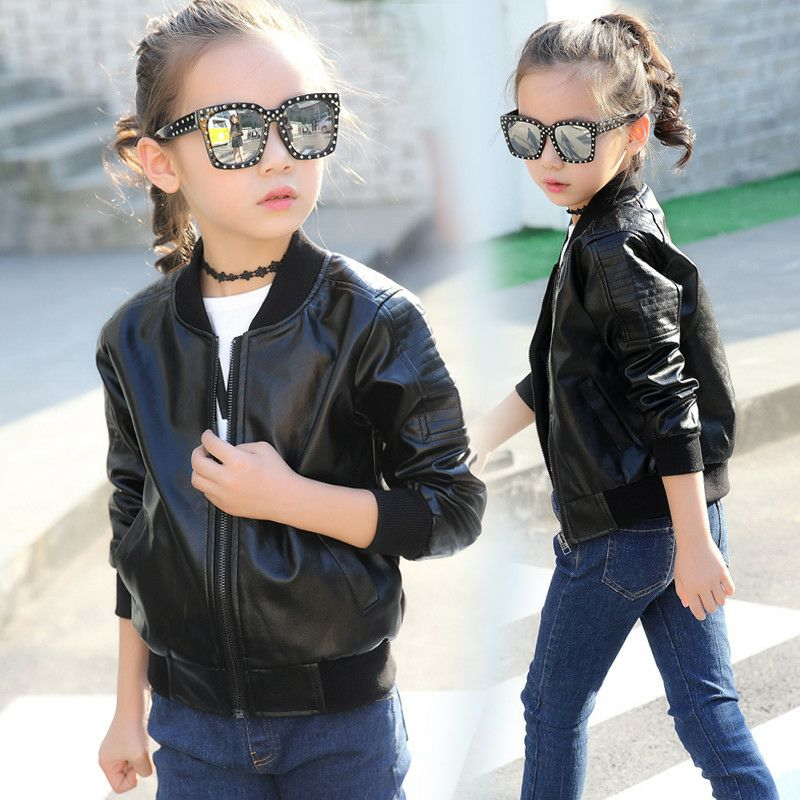 Image 2 - Teens Boys Girls JacketLeather Kids Jacket Bomber Children Pu Outwear Autumn Winter 2019 Black Wind Coat 4 5 6 8 10 12 YearsJackets & Coats   -