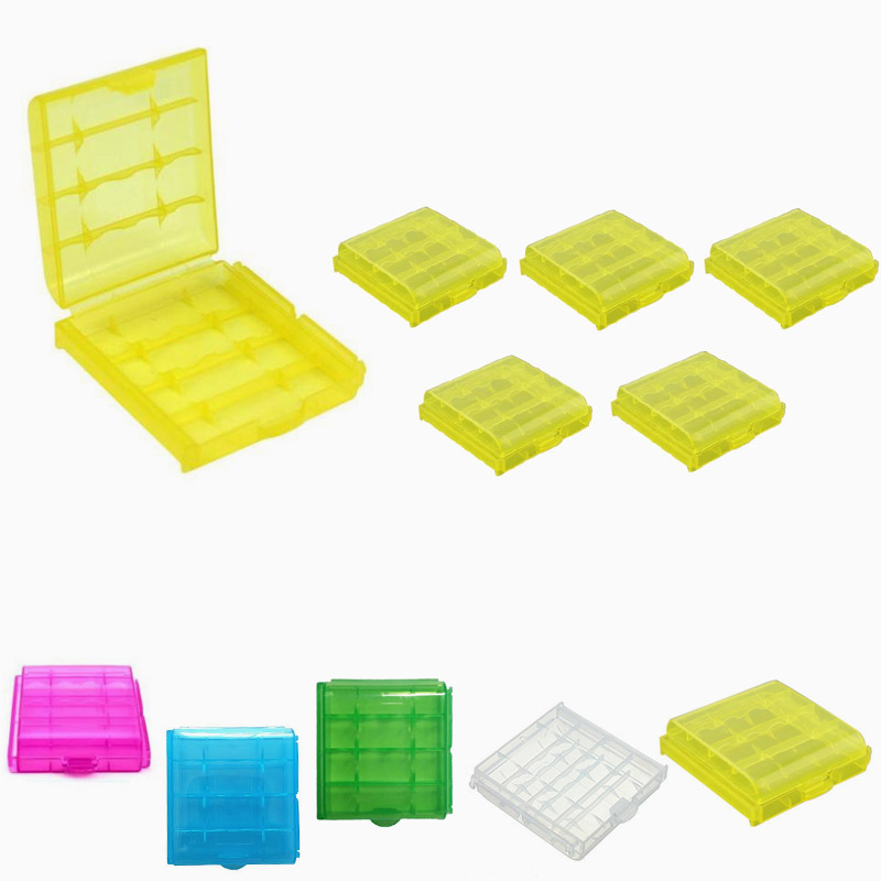 5pcs Transparent Hard Plastic AA/AAA 14500 Battery Storage Box Case LXY9