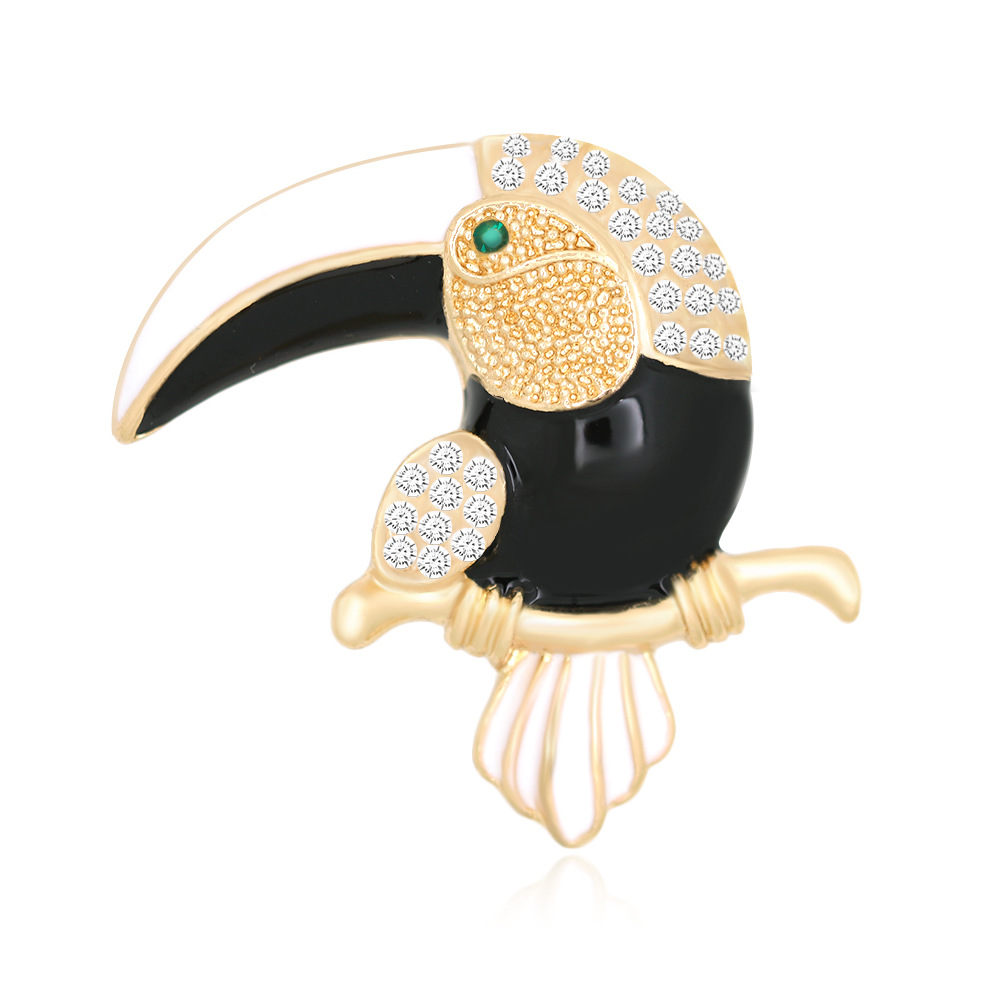 Merrytown FashionPet Brooch Black Big Mouth Parrot Breast Flower Accessories Dress Breatpin Ladies Broches Animale Para Mujeres
