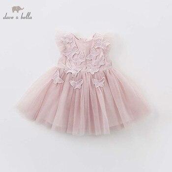 DB7536 dave bella/платье с вышитыми бабочками для малышей; детская шифоновая одежда для дня рождения и свадьбы; платье принцессы для девочек >>