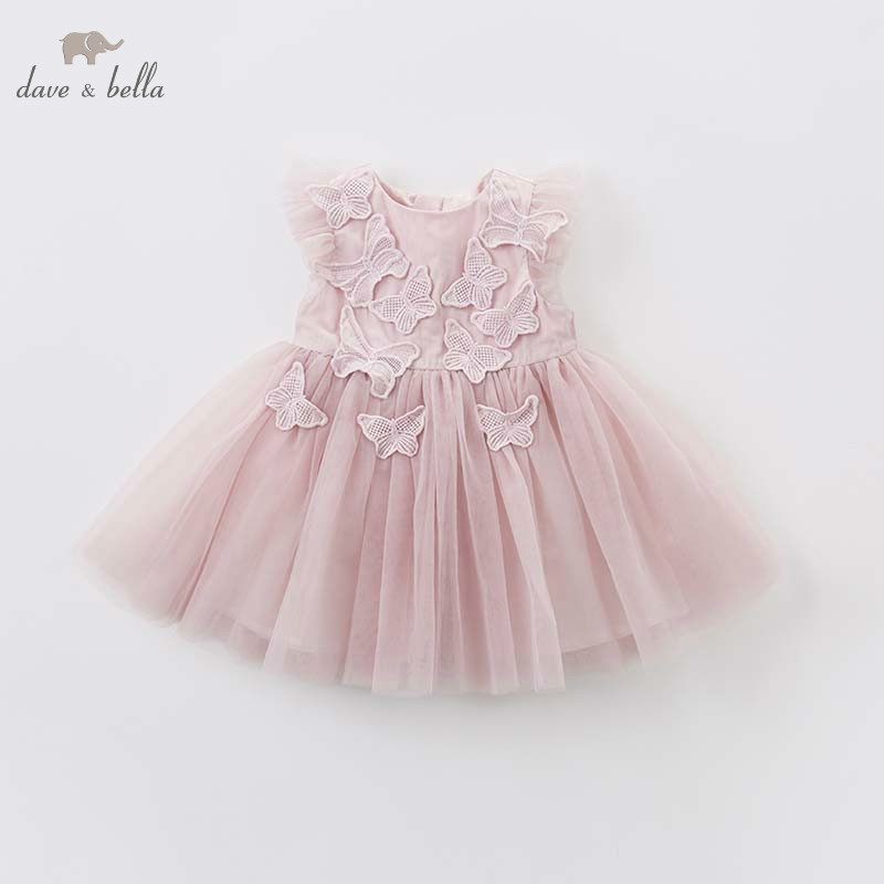DB7536 dave bella baby embroidered butterfly dress children birthday party wedding chiffon clothes girls Princess dress