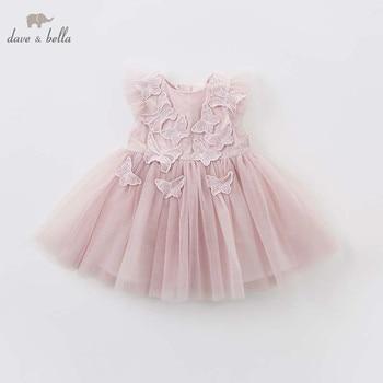 DB7536 dave bella baby geborduurde vlinder jurk kinderen verjaardagsfeestje bruiloft chiffon kleding meisjes Prinses jurk