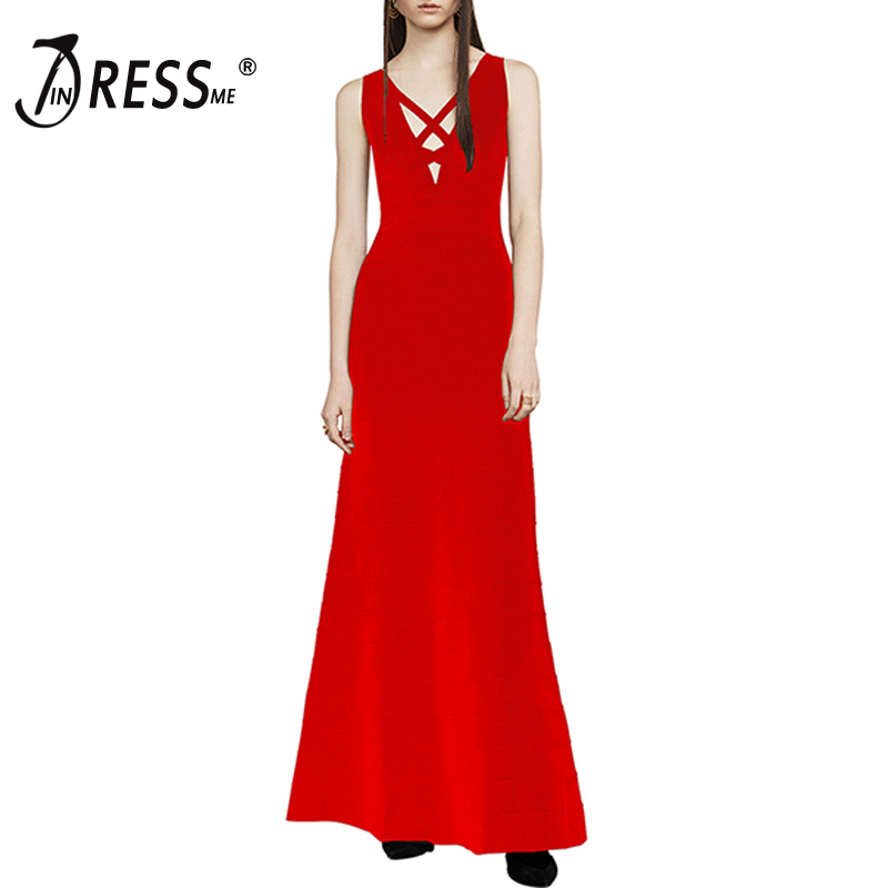 INDRESSME Elegant Hollow Out Spaghetti Strap Sexy Deep V Floor Length Backless Autumn Women Lady Bandage Party Dress 2017 New