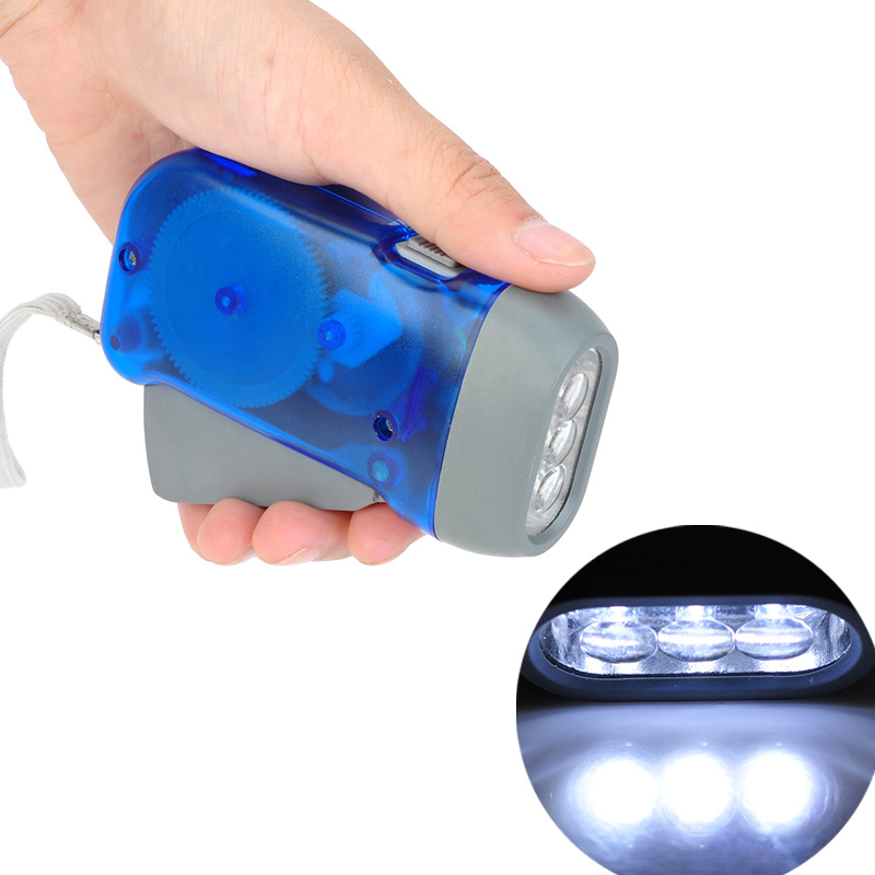 Hand Crank Traveling Torch Light Battery-Free Camping Lights 3 LEDs Hand Pressing Flashlight Manual Generator Flashlight
