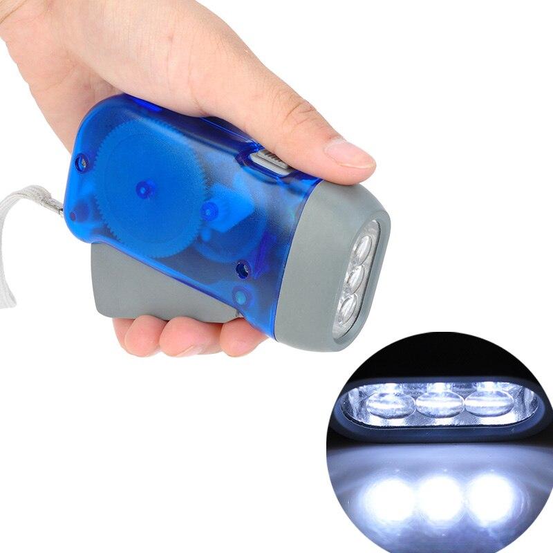 Hand Crank Traveling Torch Light Battery-Free Camping Lights 3 LEDs Hand Pressing Flashlight Manual Generator Flashlight