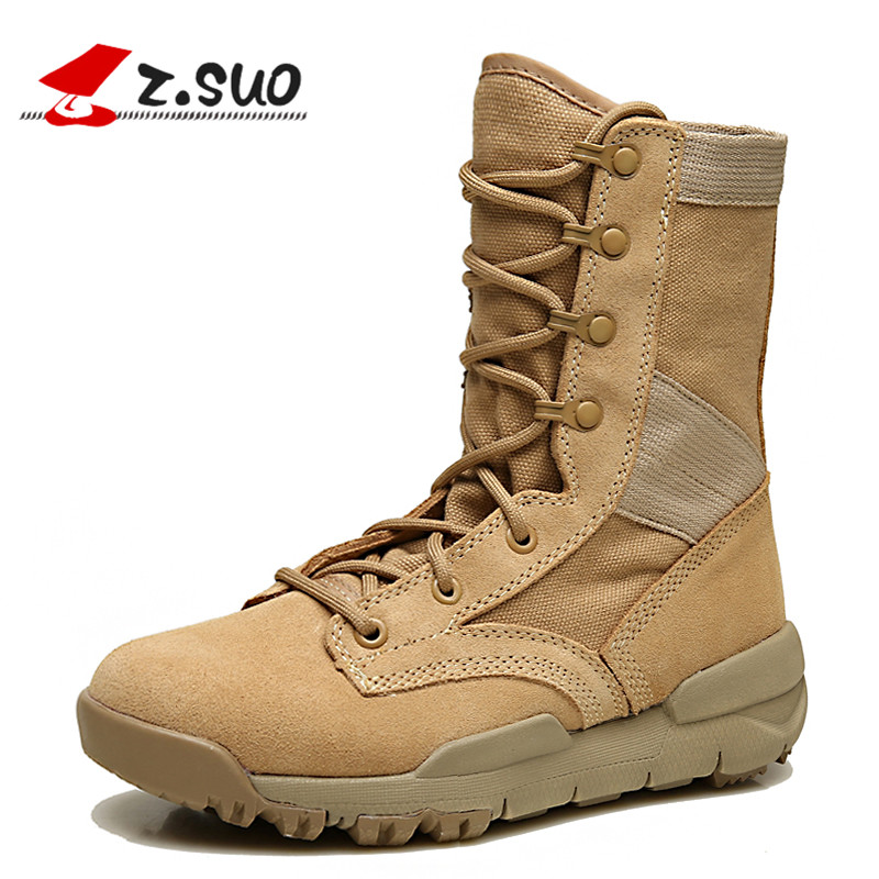 Z.Suo Men's Outdoor Winter Shoes Desert High-top Military Tactical Boots Male Fashion Cow Suede Breathable Non-slip Footwear z suo women s outdoor winter boots desert high top military tactical shoes female fashion cow suede breathable non slip footwear