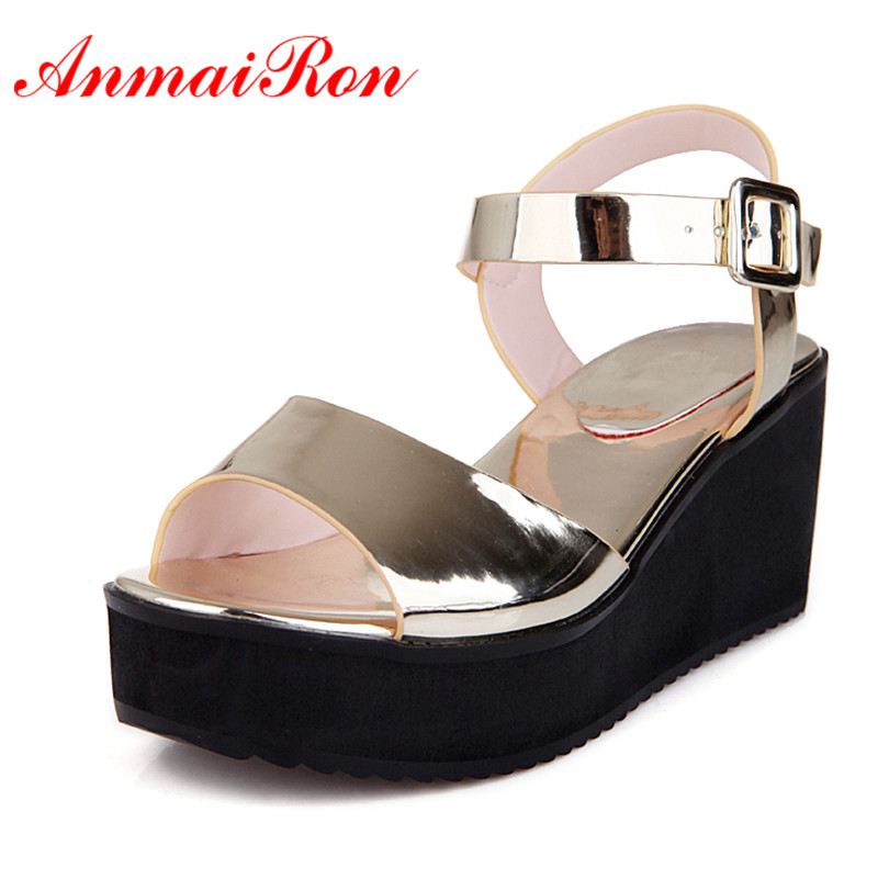 ANMAIRON Platform Casual Women Sandals Wedges Heel 34-43 lady Summer Shoes Buckle Strap Peep Toe Black Gold Silver White Shoes phyanic gold silver wedges sandals 2017 new platform casual shoes woman summer buckle creepers bling flats shoes phy4040
