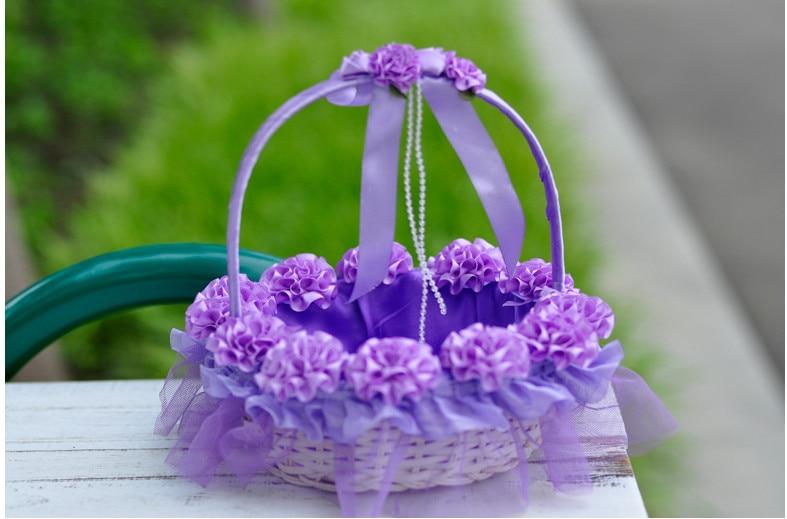 3D Purple Flower Wedding Flower Girl Basket Plum Satin