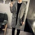 Траншеи Пальто Мужчины Шерстяные Пальто 2016 Зимняя Куртка Моды для Мужчин Новый Серый Плюс Размер Длинное Пальто Для Мужчин Шерсть-Пальто-Мужчины 5XL-M