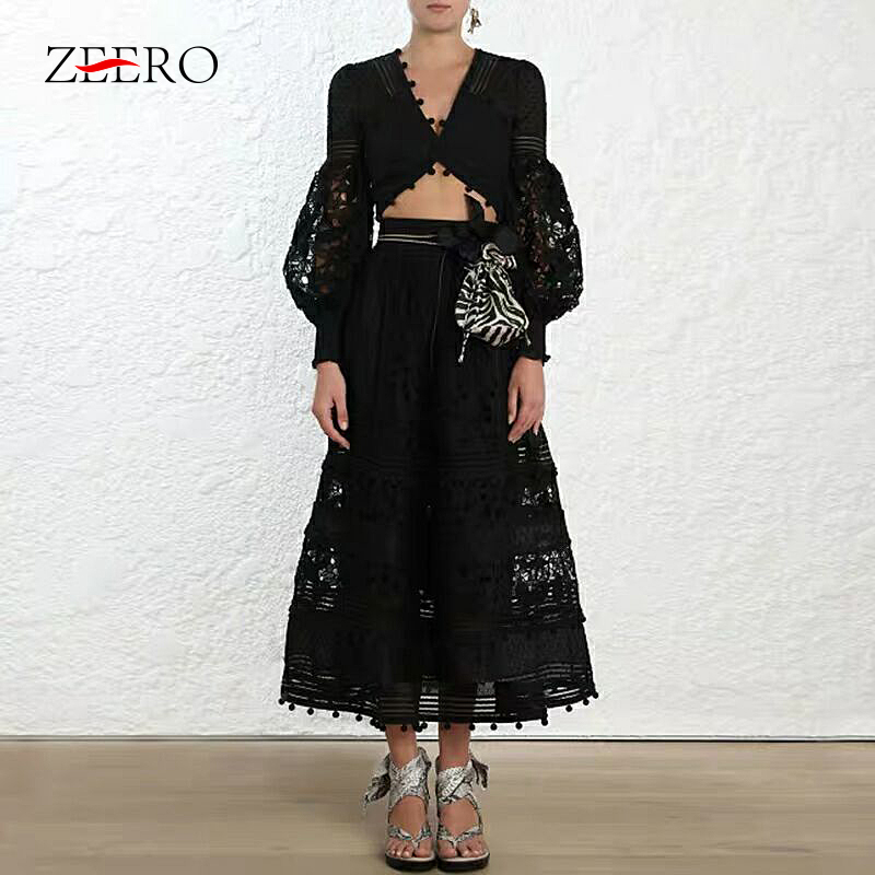 2019 Brand Designer New High Quality Spring Autumn Women Lace Dress 2 Piece Set Black Crop Top Hollow Out Sexy Party Streetwear