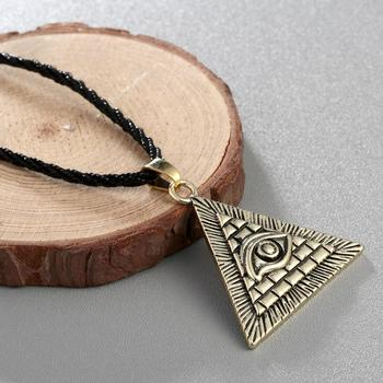 Chereda Egyptian Egypt Pyramid Pendants for Men Punk Style Rope Chain Necklaces Triangle Evil Eye Illuminati Jewelry 3