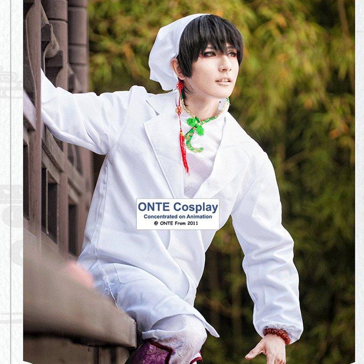 Customized Hoozuki no Reitetsu Cosplay Costumes Hakutaku White Tang Suit Unisex Coat Complete Outfit